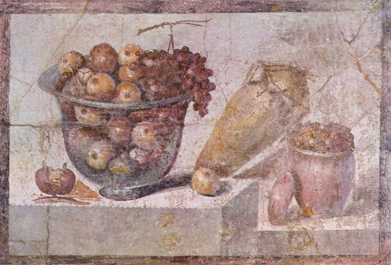 Vegan, Das Stillleben mit Früchtekorb und Vasen entstand etwa 70 v.Chr. in Pompeii.