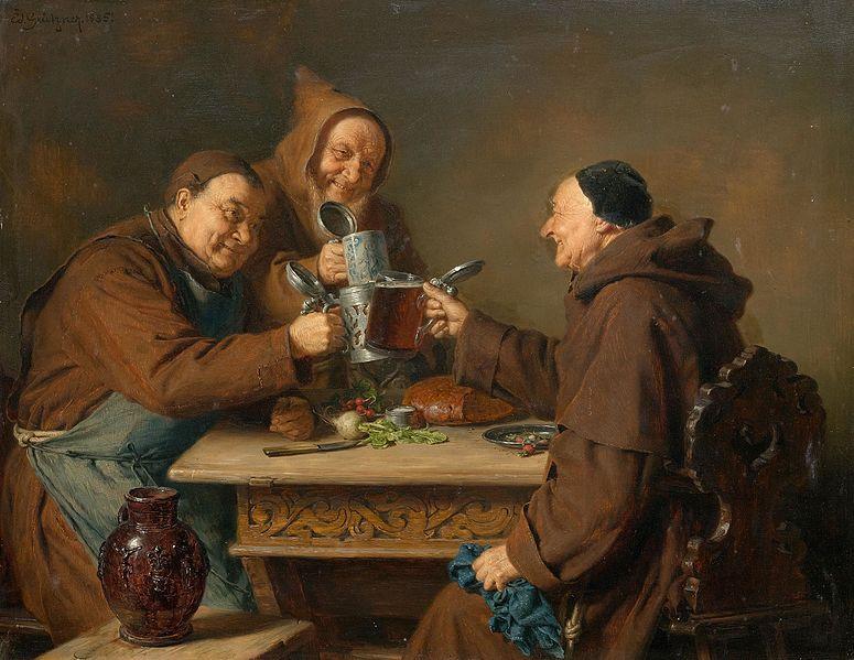 Fastenbier und Fastenzeit: Drei Mönche bei der Brotzeit, von Eduard Grützner (1985)