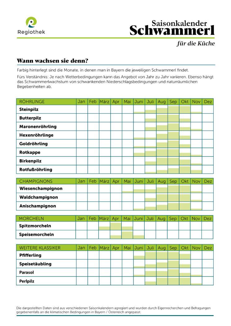 Der Regiothek Schwammerl-Kalender