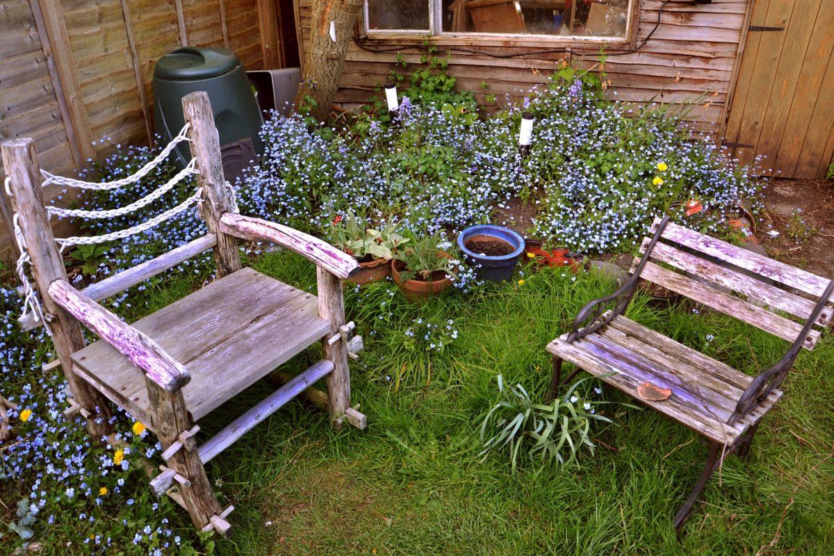 Zwei Holzstühle stehen in einer blühenden und hochgewachsenen Wiese. Im Hintergrund sind Holzwände zu sehen.