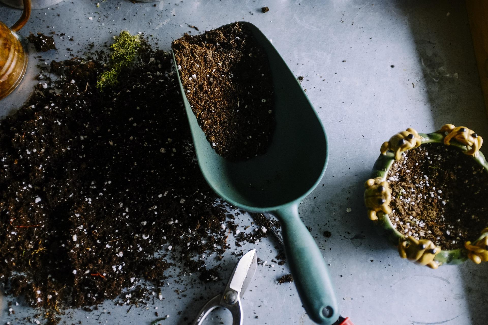 Erde und eine Schaufel mit Erde befüllt liegen auf einem grauen Tisch. Daneben eine Schere und ein Blumentopf mit Erde befüllt.
