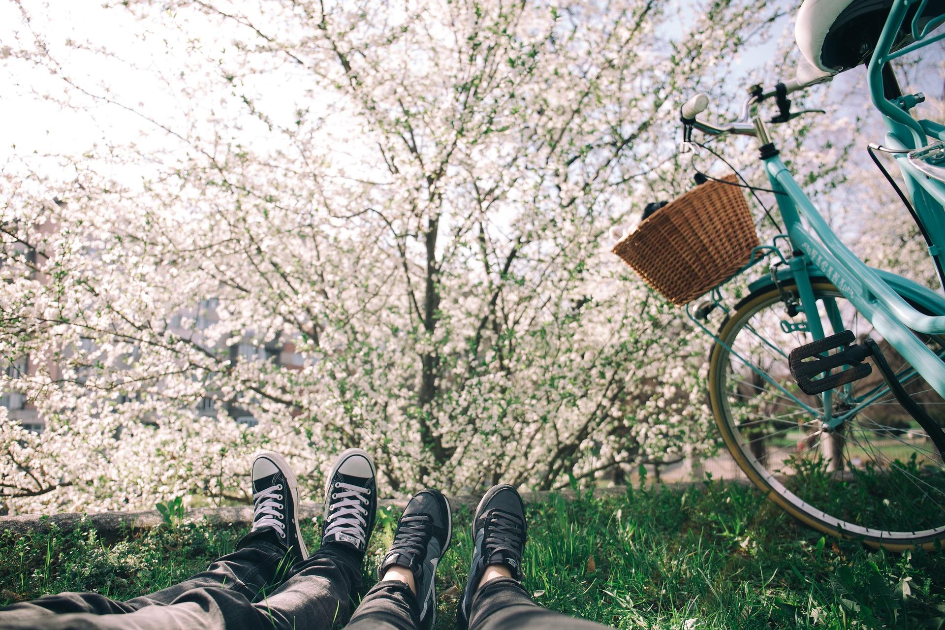 Zwei Menschen sitzen auf grünem Gras, es sind nur die Unterschenkel und Füße zu sehen. Rechts daneben ist ein türkises Fahrrad mit Korb. Im Hintergrund sieht man einen blühenden Baum.