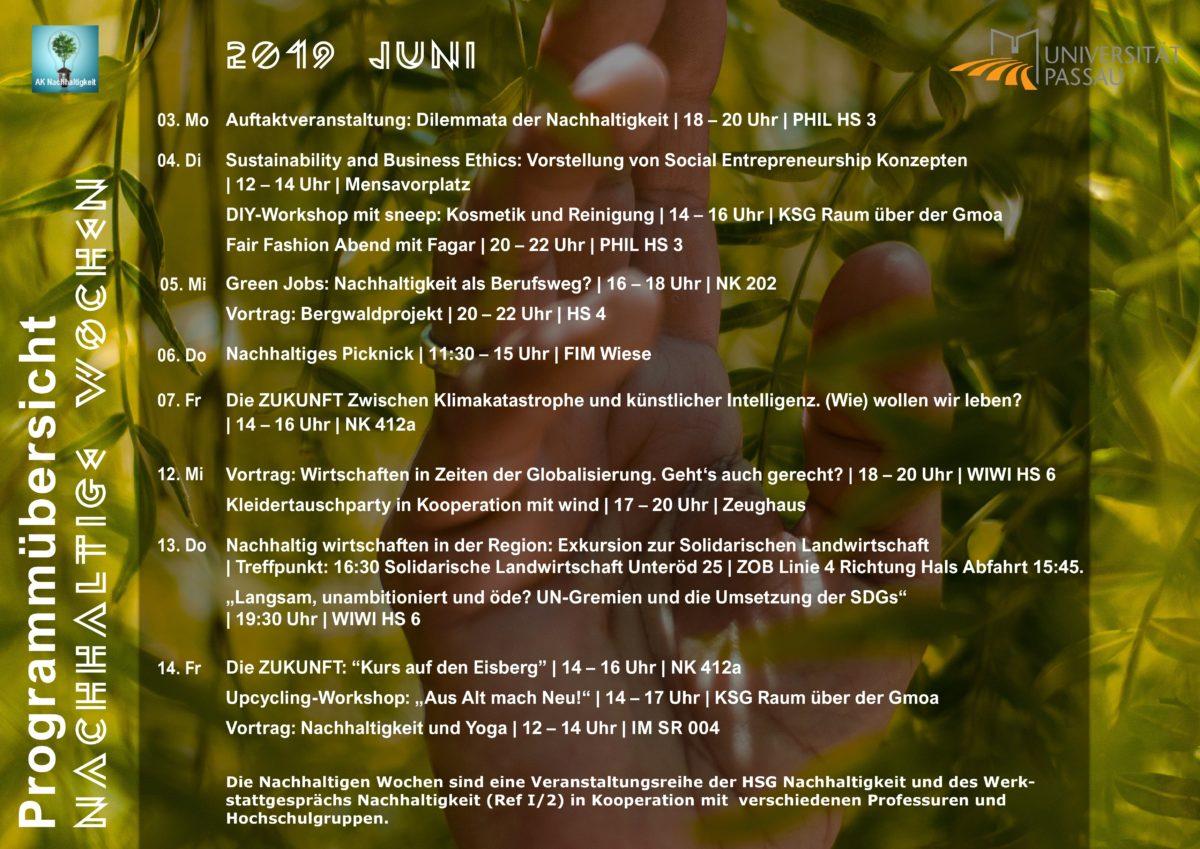 Das gesamte Programm der Nachhaltigen Wochen im Juni 2019